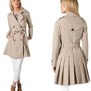 Classic GRYPHON Beige Pleated Skirt Trench Coat S
